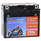 Moll mobike AGM Motorradbatterie YT12B-BS 10Ah 12V...