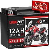 LANGZEIT YTX12-BS Motorradbatterie 12V 12Ah...