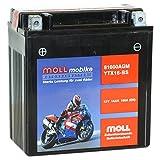 Moll mobike AGM Motorradbatterie YTX16-BS 14Ah 12V...