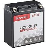 Accurat Motorradbatterie YTX20CH-BS 20Ah 260A 12V...