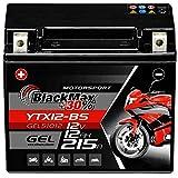BlackMax YTX12-BS Motorradbatterie GEL 12V 10Ah...