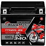 BlackMax YTX20L-BS Motorradbatterie GEL 12V 20Ah...