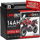 LANGZEIT YTX14-BS Motorradbatterie 12V 14Ah...