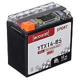 Accurat Motorradbatterie YTX14-BS 12Ah 200A 12V...
