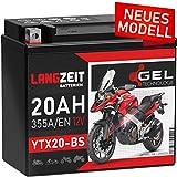 LANGZEIT YTX20-BS GEL Motorradbatterie 12V 20Ah...