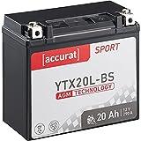 Accurat Motorradbatterie YTX20L-BS 20Ah 290A 12V...
