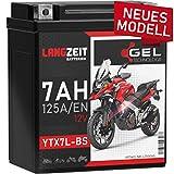 LANGZEIT YTX7L-BS Motorradbatterie 12V 7Ah 125A/EN...
