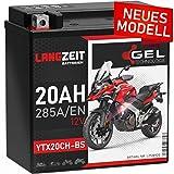 LANGZEIT YTX20CH-BS GEL Motorradbatterie 12V 20Ah...