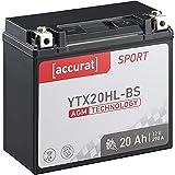 Accurat Motorradbatterie YTX20HL-BS 20Ah 280A 12V...