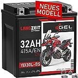 LANGZEIT YIX30L-BS GEL Motorradbatterie 12V 32Ah...