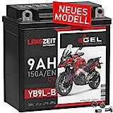 LANGZEIT YB9L-B Motorradbatterie 12V 9Ah 150A/EN...