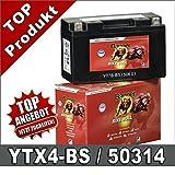 Motorrad Batterie 3Ah YTX4L-BS YB4L-B 50314 AGM...